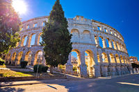 Arena Pula Roman amphiteater at sunset view