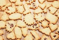 Tasty organic Christmas cookies on a baking sheet