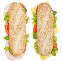 Brötchen Sandwich Vollkorn Baguette belegt mit Käse und Schinken von oben freigestellt Freisteller