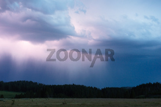 A storm passes thru quickly over Norris Canyon Road in Yellowstone