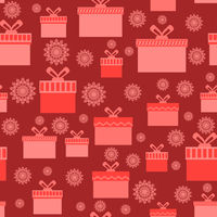 Red Wrapping Christmas Seamless Paper with Different Boxes and Snowflakes