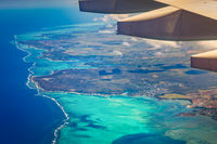Aerial view of a coastline. Mauritius