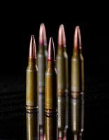 Ammunition cartridges on black background