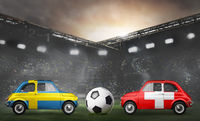 Sweden and Switzerland cars on football stadium