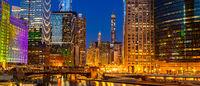Chicago downtown night sunset panorama