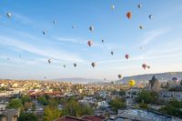 Hot air balloon are riding in Cappadocia, Turkey
