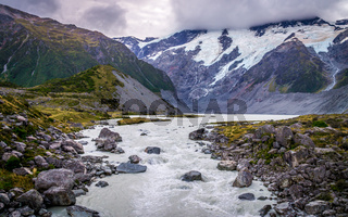 View from Hooker Valley Track on Glacier in Aoraki, New Zealand