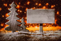 Rustic Sign, Retro Christmas Tree, Copy Space, Snow