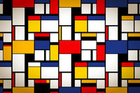 Bright colorful painting in Piet Mondrian's style, artistic background