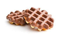 Waffles with chocolate topping.