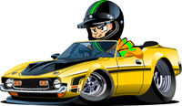 Cartoon retro sport car with driver isolated