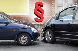 car crash accident with paragraph symbol traffic law or automobile third party insurance concept