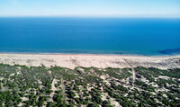 Aerial view La Mata sandy dunes and Sea. Spain