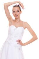 Alluring pretty woman bride in white wedding dress