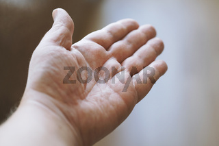 male hand palm up