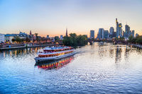 Frankfurt skyline and touristic boat