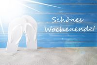Sunny Summer Background, Schoenes Wochenende Means Happy Weekend