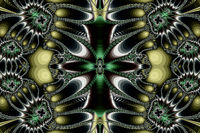 Fractal image: flying butterflies on a black background.