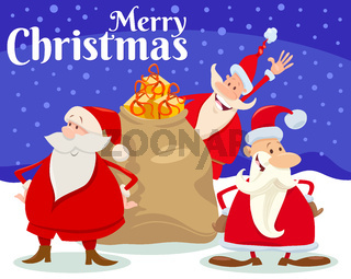 Christmas card design with Santa Claus characters
