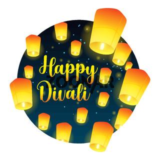 Lettering congratulation happy Divali with paper lanterns
