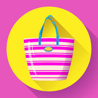 Beach bag icon flat isolated on white background. Flat Beach bag icon for infographic, mobile app or website. beach bag vector