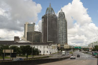Highway Traffic Mobile Alabama Downtown City Skyline Gulf Coast Seaport