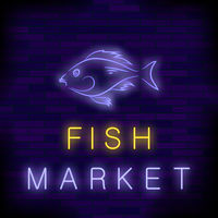 Colorful Neon Fish Market Sign