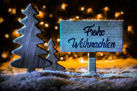 Sign, Tree, Calligraphy Frohe Weihnachten Means Merry Christmas, Snow
