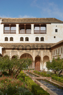 View of the Patio de la Acequia in the Palacio del Generalife, part of the La Alhambra complex in Granada, Spain