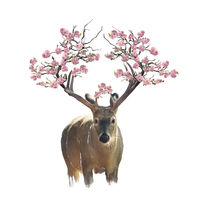 Deer portrait with flowering branches watercolor