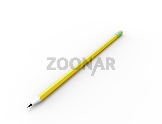 3d rendering of a sketch pencil isolated in white studio background