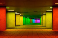 Colorful mulitcolord illuminated gallery tunnel near Museum Park, Rotterdam, The Netherlands