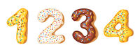 Donut icing numbers digits - 1, 2, 3, 4. Font of donuts. Bakery sweet alphabet. Donut alphabet latters A b C isolated on white background