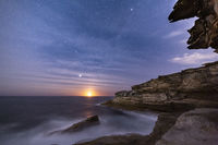 Sydney coast by night with moon rise