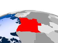 Angola on political globe