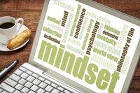 mindset word cloud on laptop