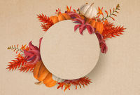 Abstract design of  autumn flowers and pumpkins frame halloween background isolated over old paper texture background