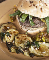 Burger with Onion Bun and Baked Zuchinni