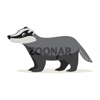 Icon of gray badger isolated, forest, woodland animal