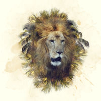 Double exposure of lion head and palm trees