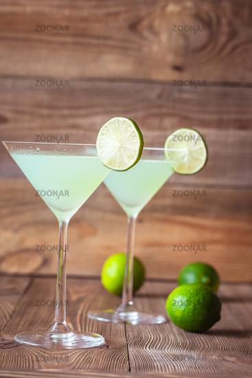 Glasses of classic daiquiri cocktails