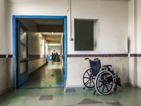 Wheelchair at Hospital Hall, Montevideo, Uruguay