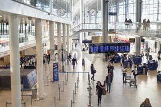 People Kastrup airport hall Copenhagen