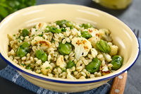 Vegan Salad of Barley, Broad Beans and Cauliflower