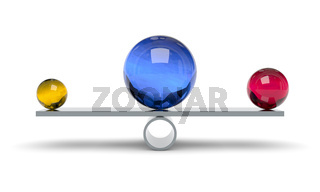 blue red and yellow ball on a scale