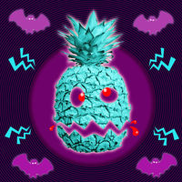 Halloween. Contemporary art concept collage with pineapple monster in a surreal horror style.