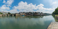 panorama cityscape view of the old town and river of Auray in Brittany in western France