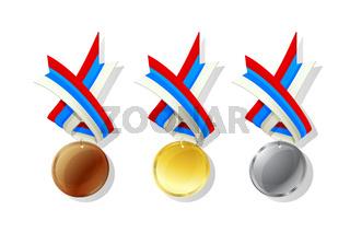 Russia vector medals set