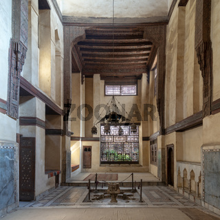 Room at El Sehemy house, an old Ottoman era historic house in Islamic Cairo, built in 1648, Cairo, Egypt