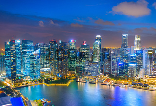 Aerial Skyline Singapore Downtown cityscape